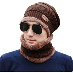 [Anniversarich] ネックウォーマー ニット帽 2点セット 帽子 メンズ レディース 男女兼用 冬 ニット帽子 ニットキャップ 裏起毛 アウトドア (ブラウン)