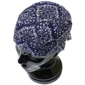 バンダナキャップ ペイズリー ヘッドギア メンズ レディース 帽子 衣装 フェス ライブ フリーサイズ 大きめサイズ 紺 ネイビー