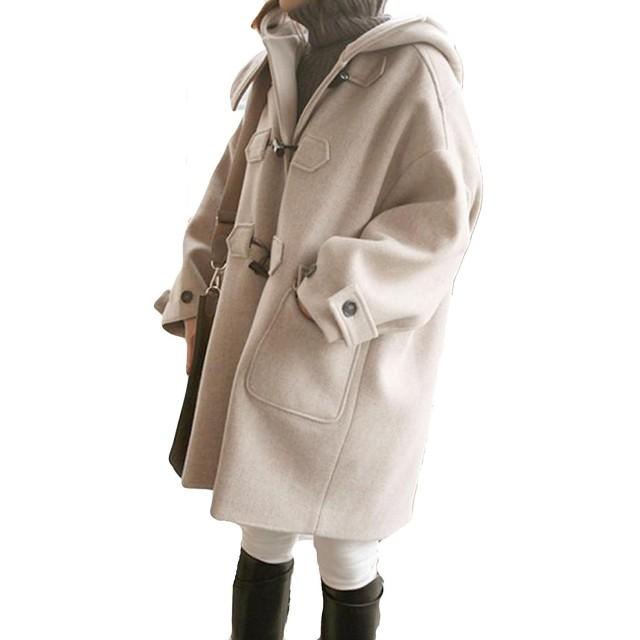 Lisa Pulster レディース ダッフルコート ラシャコート 秋 冬 オーバー かわいい おしゃれ 保温 中綿 防寒 通勤 無地 アウターコート フード付きコートジャケット ジャンパー ブルゾン (M)