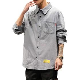 シャツ メンズ 長袖 ネルシャツ カジュアル 大きいサイズ スリム シャツGlestore(グラストア)グレーL