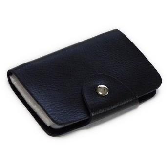 京都 おかげさまで 本革 シンプル レザー カードケース 26枚収納 レディース メンズ 12色 (ブラック)