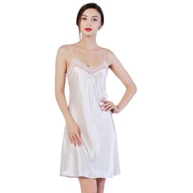 シルク スリップ 絹100% 胸元チュールレース インナー ドレス L ホワイト