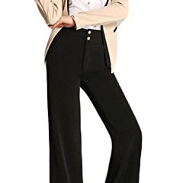 BSCOOLレディース スラックス 黒 ストレート ゆったり ワイド パンツ ハイウエスト 高見え ガウチョ パンツ ブーツカット ロングパンツ フォーマル 着回し ガウチョパンツ 通勤 オフィス(27黒)