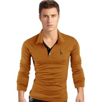 Legou(ラッコウ) メンズ 無地 コットン スリム 長袖 襟付き シャツ 黄色い XL