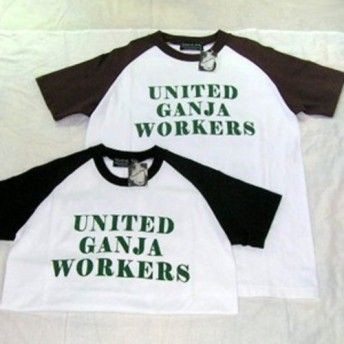 【アウトレット】プリントベースボールTシャツ UNITED GANJA WORKERS W-09044 白×黒 S