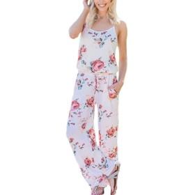女性の花のスリップのジャンプスーツロンパースワイドレッグパンツ Rice LDwlG7039-Rice-M