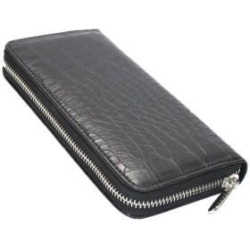 財布 メンズ クロコ柄長財布 ラウンドジップ ラウンドファスナー 革 レザー 編み込み 小銭入れ 札入れ 黒