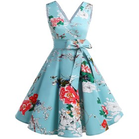 Dresstell(ドレステル) ヴィンテージスタイル スイングワンピース Vネック ベルト付き お呼ばれ 結婚式用ドレス フローラル Sサイズ