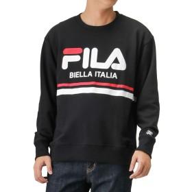 FILA(フィラ) 裏毛ラインロゴプリントトレーナー スウェット トレーナー 長袖 FH7449 メンズ ブラック:XL