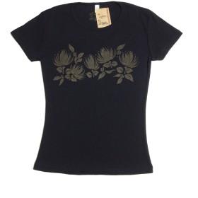 レフア柄Tシャツ fura フラレッスン 練習着 ohana お揃い (XL, ブラック×ブラウン)