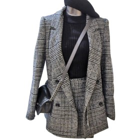 (のグレープフルーツ プラム)レディース POLO襟 ブラウス 格子 スーツジャケット チェック柄のスカート 女性のスーツ グレー XL