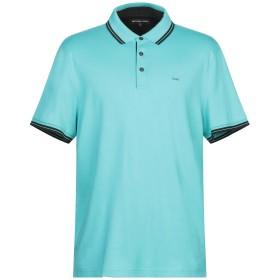 《期間限定セール開催中!》MICHAEL KORS MENS メンズ ポロシャツ ターコイズブルー S 100% コットン