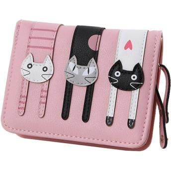 【ノーブランド品】かわいい猫柄の ミニ財布 かわいい 二つ折り財布 ガールズ レディース ピンク