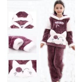 ペアパジャマ 上下セット 冬用 親子 家族 お揃い 防寒 保温 部屋着 寝巻き 暖かい ルームウェア セットアップ カップル 夫婦 もこもこ 子供パジャマ メンズ レディース ナイトウェア クリスマス プレゼント 猫柄