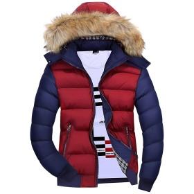 Mr.Streamメンズ防寒軽量 ジャケット防風カジュアル上着秋フード付き保温長袖コート冬 L Red Blue