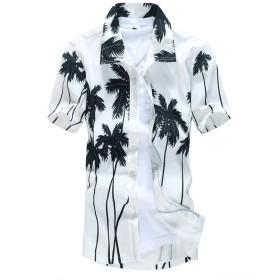 (ワイ-ミー)Y-ME 半袖シャツ ビーチシャツ アロハシャツ おしゃれ 旅行 カップルシャツ ST22 white XXL