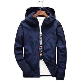 KAWA KANA メンズ ジャケット 軽量 男女兼用 ウィンドブレーカー スポーツウェアジャンバー コート 防風大きいサイズ S~7XL全 8色 (6XL, ネイビー)