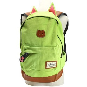 【ノーブランド品】 猫耳 猫の手 リュック バッグ キャンバス +ポーチ ネックレス(黄緑)