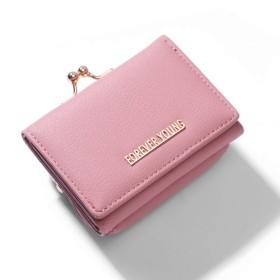 Yisin レディース 三つ折り財布 ミニ財布 ウォレット がま口 カード小銭入れ プレゼント ソフトピンク