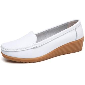 [Mingtudz] ナースシューズ レディース安全靴 パンプス ウォーキングシューズ 通勤 モカシン 軽量 疲れにくい 大きいサイズ ホワイト 23.0cm 白36