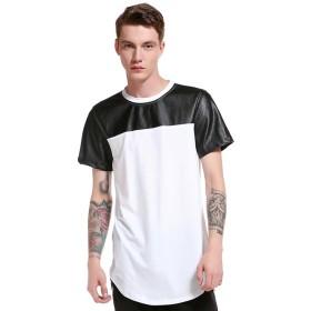 (ワトリズ)Whatlees メンズ 半袖 白 裾ラウンド 原宿系 ロングTシャツB564-White-M