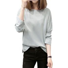 GFMADE Tシャツ レディース 長袖 トップス カットソー 無地 薄手 大きいサイズ (グリーン, L)