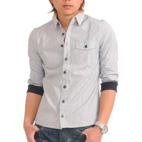 (スペイド) SPADE シャツ メンズ 七分袖 袖リブ 無地 ストライプ 白シャツ 【q952】 (L, ストライプブラック)