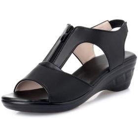 [ジョイジョイ] サンダル レディース 厚底 歩きやすい レザー 痛くない 婦人靴 ウェッジソールジップ ストラップサンダル 4cm バックストラップ 歩きやすい お出かけ 疲れない ローヒール 靴 大きいサイズ 黒