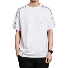 NEWHEY Tシャツ メンズ 半袖 カットソー 服 プリント 大きいサイズ スポーツ ウェア 夏 無地 ファッション クルーネック 速乾 カジュアル 薄手 シンプル ゆったり ホワイト XL