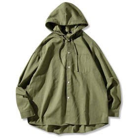 (ニカ)メンズ ジャケット ブルゾン 大きいサイズ 秋 ゆったり ジャンパー コート プルオーバー フード付き ミリタリー ジャケット モスグリーン 羽織 アウター 通勤 通学 モスグリーンT3