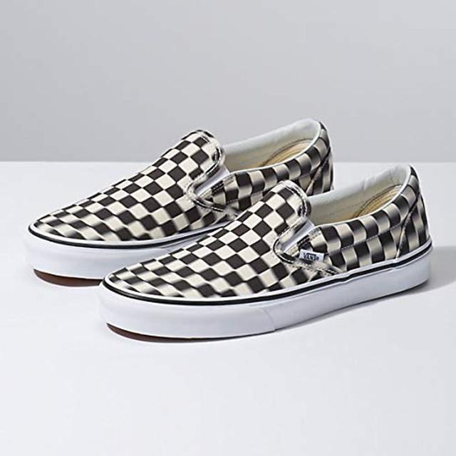 [(バンズ)Vans] ユニセックススケート靴・スニーカー BLUR CHECK Slip On ブルーチェックスリッポン Black/Classic White ブラック/ホワイト M:4, W:5.5 (メンズ22cm, レディース22.5cm) [並行輸入品]