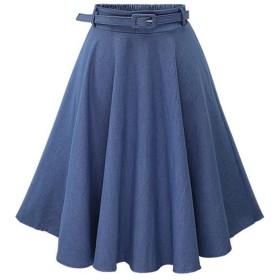 (アッシュランゲル)ASHERANGELデニムスカート フレア ロング aライン レディース スカート 大きいサイズ ひざ丈 カジュアル  (総丈:59cm, ベルト付き ライトブルー)
