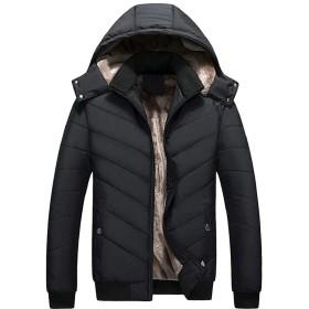 chenshiba-JP メンズ冬のパフコートは、フォークス毛皮は厚くダウンジャケットを裏地付き Black XL