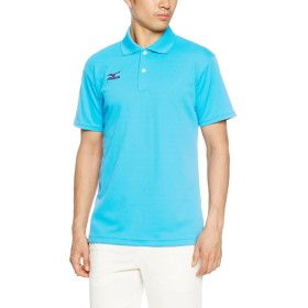 [Mizuno] テニスウエア ポロシャツ 半袖 抗菌消臭 紫外線カット ストレッチ バドミントン 62JA6010 ブルーアトール 日本 S (日本サイズS相当)