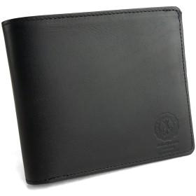 [e-mono] イーモノ 二つ折り財布 財布 二つ折り 本革 メンズ ベーシック 姫路レザー オイルダコタ レザー 日本製 国産 高級 ビジネス カジュアル ベーシック ウォレット (ブラック)