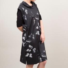 【 特別価格 送料無料】柄のゆるネックジャンパースカート(ブラック)AABOP-004
