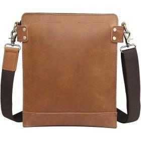 [(チョウギュウ) 潮牛] メンズ 本革 レザー ショルダーバッグ 斜め掛けバッグ iPad対応 自転車 鞄 キャメル