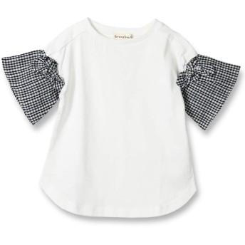 [ブランシェス] 袖チェック 半袖 Tシャツ 110cm オフホワイト