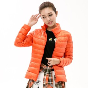 Torisky レディース ダウンジャケット ライトコート 超軽量 アウトドア 登山防風防寒コート便利な収納袋付き( オレンジ2XL)