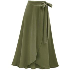 (ミニマリ) minimali ニットソー ラップ スカート 可愛い ハイウエスト リボン 無地 ミモレ丈 ロング フレアスカート (23 2XL サイズ モスグリーン)