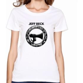 YOKOあさの 女性 カスタマイズ ジェフ ベック ロゴ ポスター 半袖シャツ タイツ White Size M