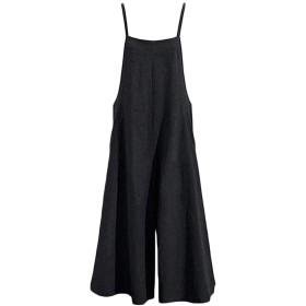 レディース ゆったり リネン サスペンダーズボン ワイドレッグ オーバーオール ジャンプスーツ サロペットパンツ ハレムパンツ プラスサイズ (XL, ブラック)