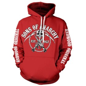 Officially Licensed Merchandise Sons Of Anarchy Chain Logo Hoodie (Red), X-Large