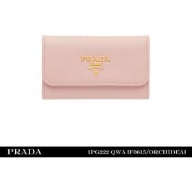『PRADA-プラダ-』キーケース Saffiano Metal Oro〔1PG222〕F0615 Orchidea[レディース キーホルダー ピンク]