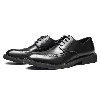 [ジョイジョイ] ビジネスシューズ メンズ ウィングチップ カジュアル ローカット 消臭 衝撃吸収 軽量 ワーク 通勤 大きいサイズ レースアップ 革靴 紳士靴 履きやすい フォーマル 滑り止め 防水 ブラック