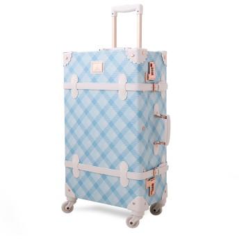 Uniwalker トランクケース キャリーバッグ かわいい 静音 四輪 軽量 キャリーケース トランク 新鮮 復古主義 s型 スーツケース 機内持込 (S (機内持込)型, 青)