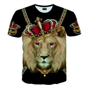 Pizoff(ピゾフ) メンズ Tシャツ 半袖 ライオン柄 奇抜 B系 おしゃれ 個性 ストリート 大きいサイズ カットソーAC145-33-M