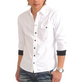 (スペイド) SPADE シャツ メンズ 七分袖 袖リブ 無地 ストライプ 白シャツ 【q952】 (M, ホワイト)