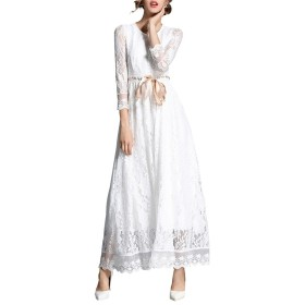 BANKIKU (バンキク) ドレス ワンピース マキシ 白 レディース レース 花 刺繍 レトロ 結婚式ワンピース ロング丈 フォーマル エレガント 女性洋服 パーティードレス 袖あり 大人 リボン