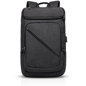 FANDARE スクエアリュック メンズ USBポート付き ビジネス ボックス型 PC収納 パックパック 盗難防止 大学生 大容量 通勤 通学 防水 デイパック カジュアル ナイロン 黒